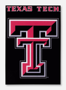Texas Tech Double T on Black Vertical Flag