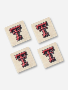 Texas Tech Set of 4 Double T Marble Coasters