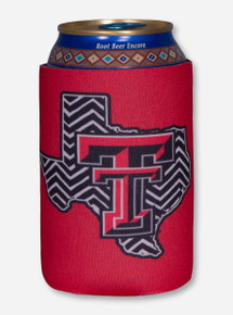 Texas Tech Black and White Chevron Lone Star Pride on Red Can Cooler