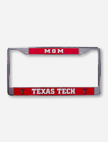 Texas Tech Mom on Red & Chrome License Plate Frame