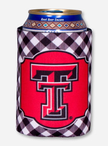 Texas Tech Double T Gingham Can Cooler