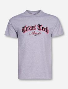 Texas Tech Alumni Newspaper Font on Heather Grey T-Shirt