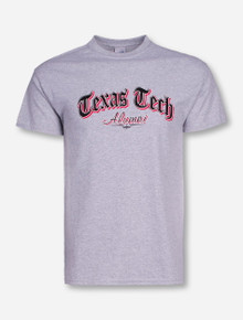 Texas Tech Alumni Newspaper Font on Heather Grey T-Shirt