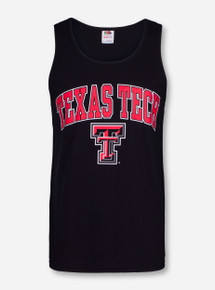 Texas Tech Arch Over Double T on Black Tank Top
