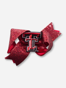 Texas Tech Double T Glitter Oversized Red Bow