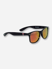 Texas Tech Double T on Black Sunglasses with Mirrored Lenses