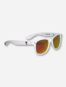 Texas Tech Double T on White Sunglasses with Mirrored Lenses