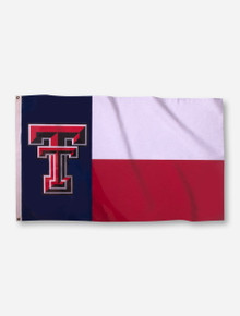 Texas Tech Double T on Red, White and Blue Texas State Flag