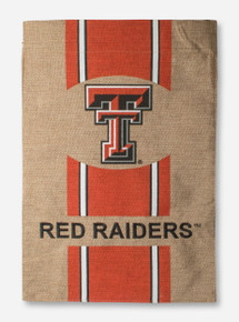 "Double T & Red Raiders on Burlap 12.5"" x 18"" Flag - Texas Tech"
