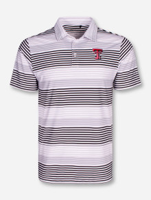 "Columbia Texas Tech ""Fairway"" White, Black & Grey Striped Polo"