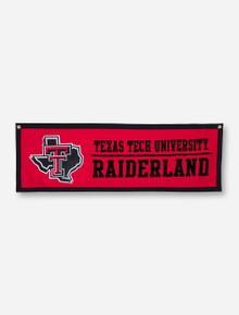 "Texas Tech Lone Star Pride Raiderland on Flocked Red Felt 35"" x 12"" Banner"