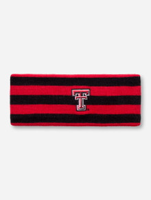 The Game Texas Tech Double T on Red and Black Stripe Knit Ear Warmer