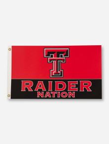 Texas Tech Raider Nation & Double T on Red & Black 3' x 5' Flag