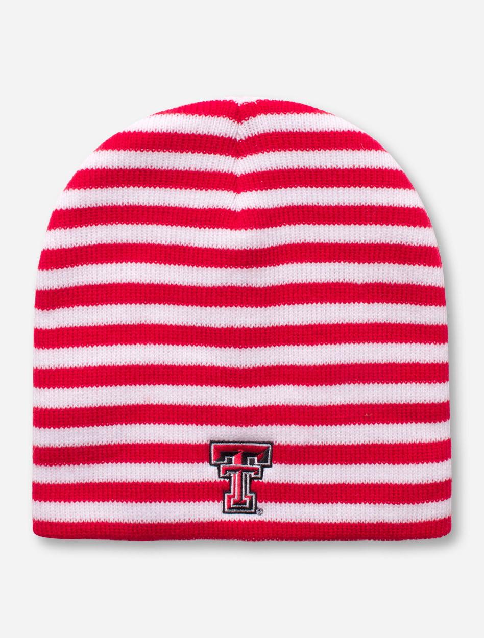 Logo Texas Tech Red Raiders Double T Red and White Striped Beanie 484e9d8b01d