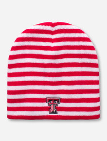 Logo Texas Tech Double T Red and White Striped Beanie