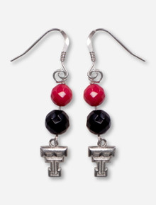 DaynaU Texas Tech Double T with Red and Black Rhinestone Earrings