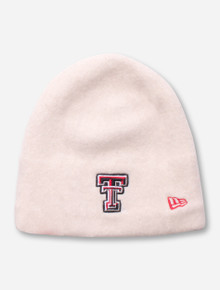 New Era Texas Tech Double T on Women's Ivory Beanie