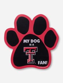 "Texas Tech ""My Dog is A Texas Tech Fan"" Paw Print Car Magnet"