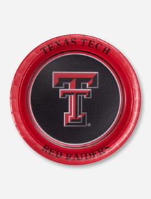 Set of Texas Tech Red Raiders Double T on Red Bordered Paper Plates