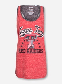 "Pressbox Texas Tech ""Nelly"" on Heather Red and Heather Charcoal Racerback Tank"