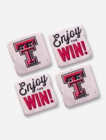 Texas Tech Set of 4 Victory Marble Coasters with Stand