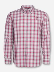 "Cutter & Buck Texas Tech ""North Point"" Grey and Red Plaid Long Sleeve Dress Shirt"