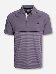 "Cutter & Buck Texas Tech ""Junction Stripe"" Grey Hybrid Polo"