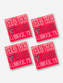 Texas Tech Red Raiders Glass Red Coasters