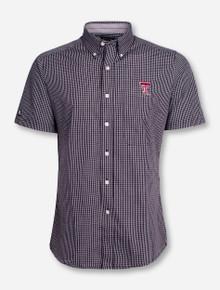"Antigua Texas Tech ""League"" Checkered Short Sleeve Dress Shirt"