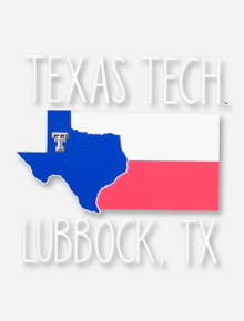 Texas Tech Lubbock, TX with Blue State in Texas State Flag Decal