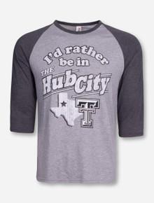Texas Tech Hub City on Grey and Charcoal Raglan