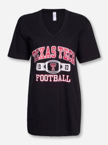 Texas Tech Glitter Football Tab on V Neck T-Shirt