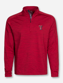 "Levelwear Texas Tech ""Shield"" Heather Red Quarter Zip Pullover"