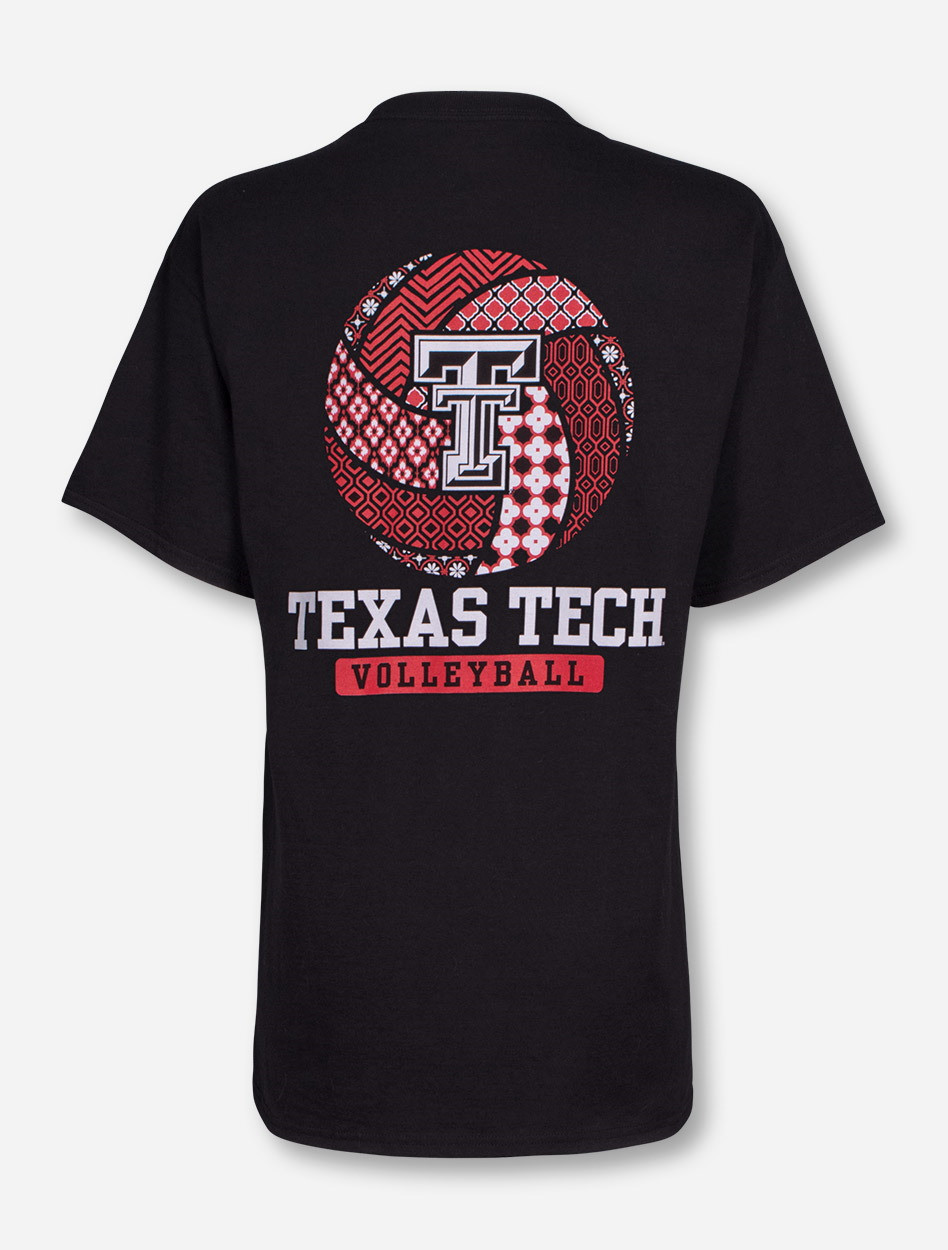 Texas Tech Red Raiders Pattern Volleyball On Black T Shirt