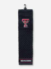 Texas Tech Red Raiders & Double T on Black Golf Towel