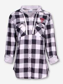 "Columbia Texas Tech ""Times Two"" Flannel Hooded Button Up Shirt"