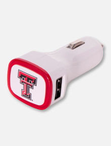 Texas Tech Double T on White Car Charger