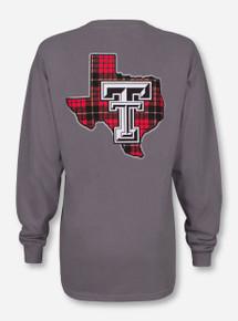Texas Tech Plaid Lone Star Pride on Grey Long Sleeve Shirt