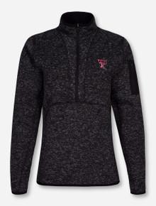 "Antigua Texas Tech ""Fortune"" Charcoal Fleece Half Zip Pullover"
