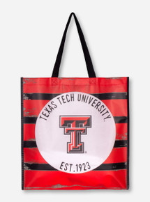 Texas Tech Striped Plastic Picnic Tote