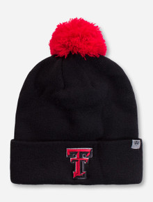 Top of the World Texas Tech Double T YOUTH Black Pom Beanie