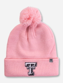 Top of the World Texas Tech Double T Pink Pom Beanie