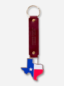 Texas Tech State Flag Leather Keychain
