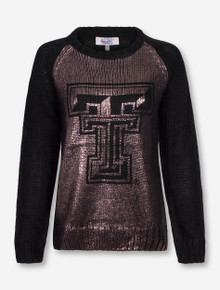 """Texas Tech """"New York"""" Shimmer Double T Black Knit Sweater"""