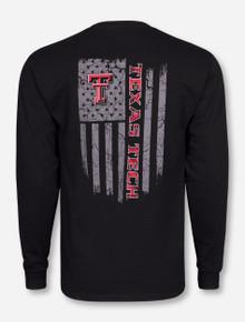 Texas Tech Fatigue Flag on Black Long Sleeve Shirt
