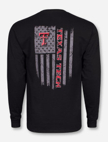 Texas Tech Fatigue Flag on Black Long Sleeve Shirt