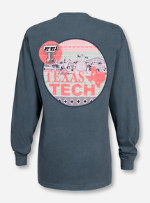 Texas Tech Campus Aztec on Green Long Sleeve Shirt