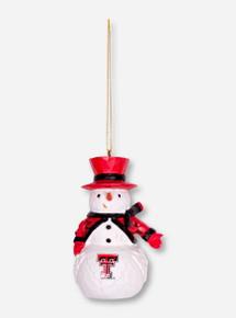 Texas Tech Carved Snowman Christmas Ornament