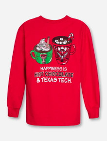 Texas Tech Happiness is Hot Cocoa on YOUTH Red Long Sleeve Shirt