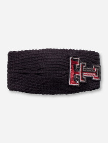 Texas Tech Beaded Double T on Black Knit Headband